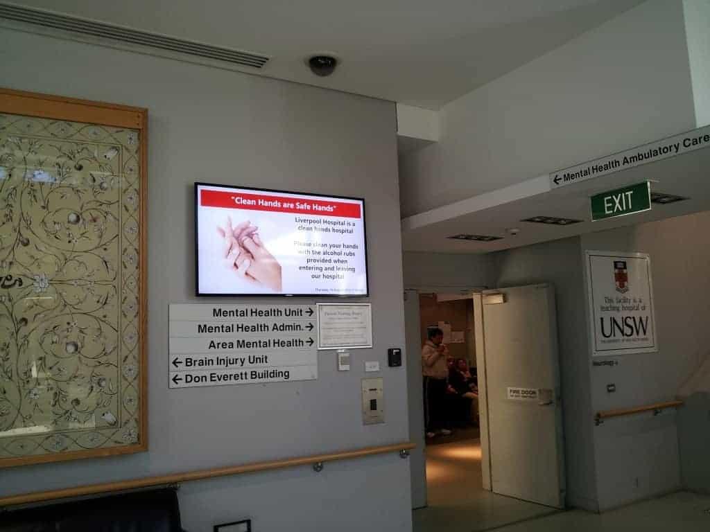 Liverpool Hospital Welcome Board Mental Health Entrance