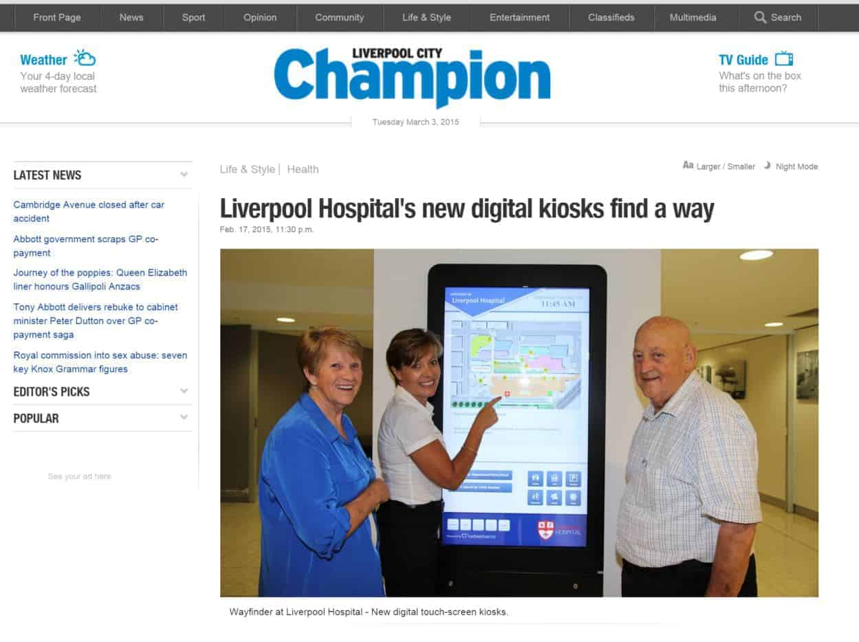 Digital Wayfinding Liverpool Champion Newspaper