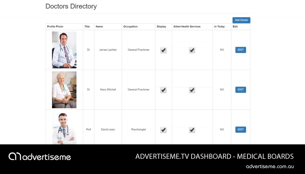 Advertise Me TV Medical Board Dashboard Doctors directory