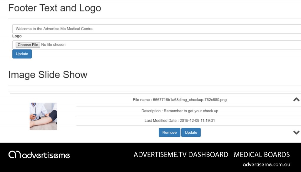 Advertise Me TV Medical Board Dashboard Footer Logo Slide Show