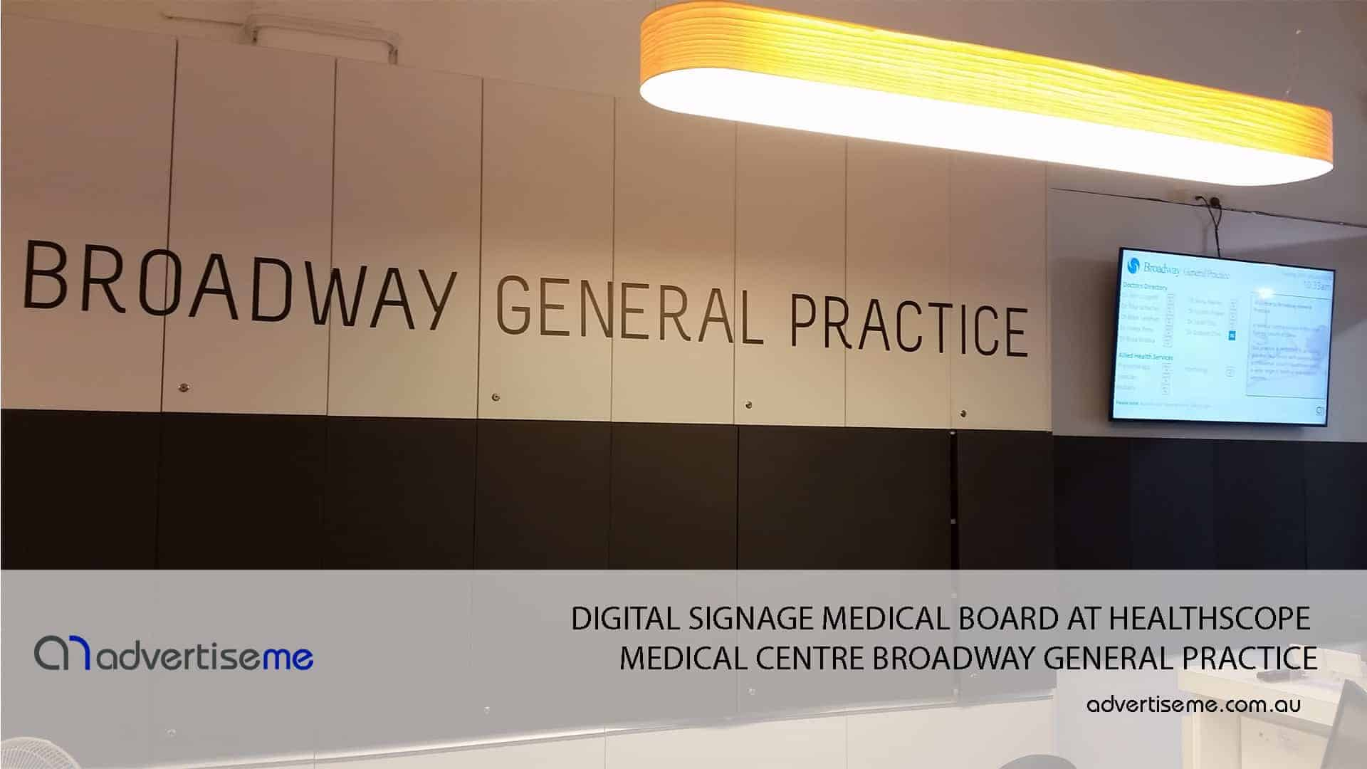 DIGITAL SIGNAGE MEDICAL BOARD AT HEALTHSCOPE MEDICAL CENTRE BROADWAY GENERAL PRACTICE 1