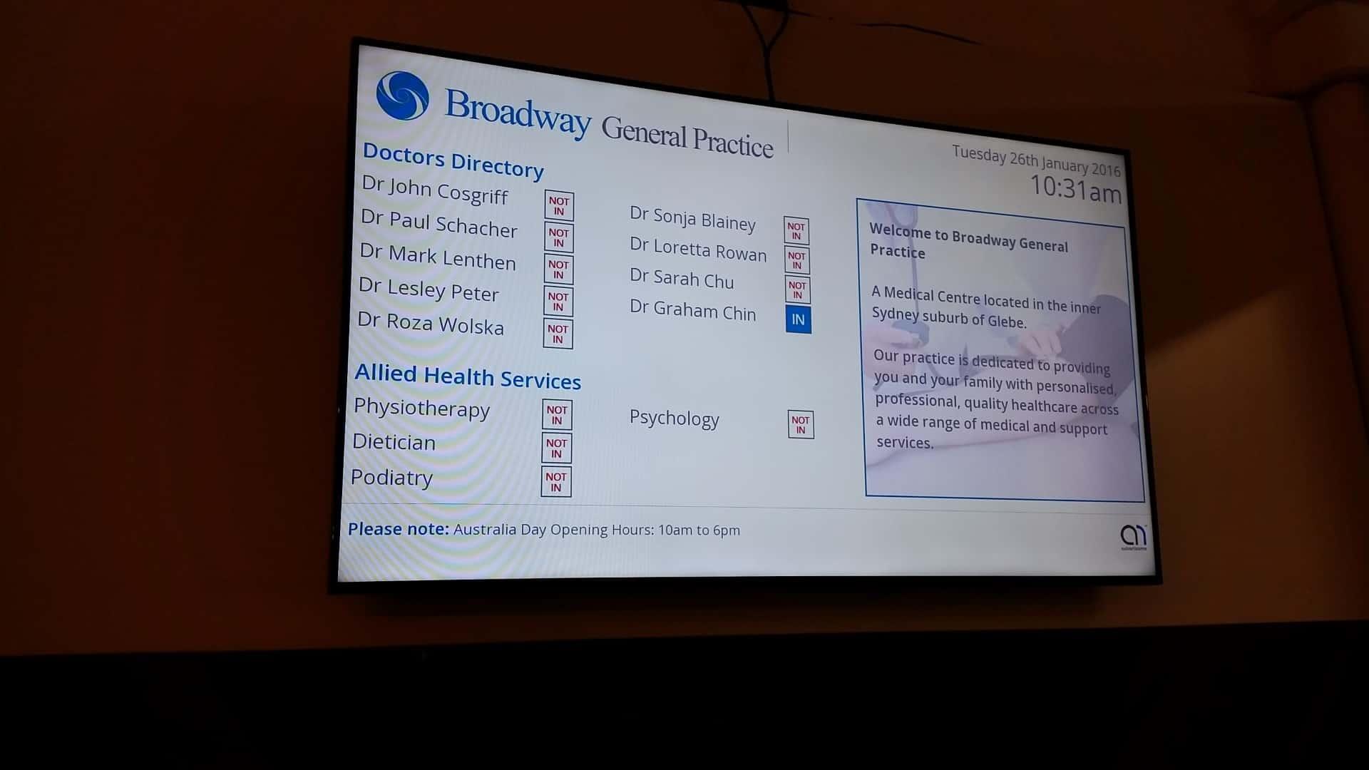 Advertise Me - Digital Signage Healthscope Broadway Medical Centre Medical Boards