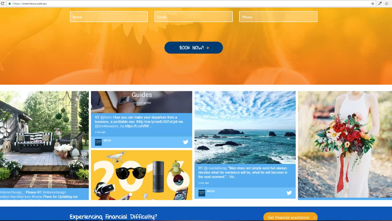 Advertise Me - Social Wall Holiday Coast Credit Union Digital Signage Website