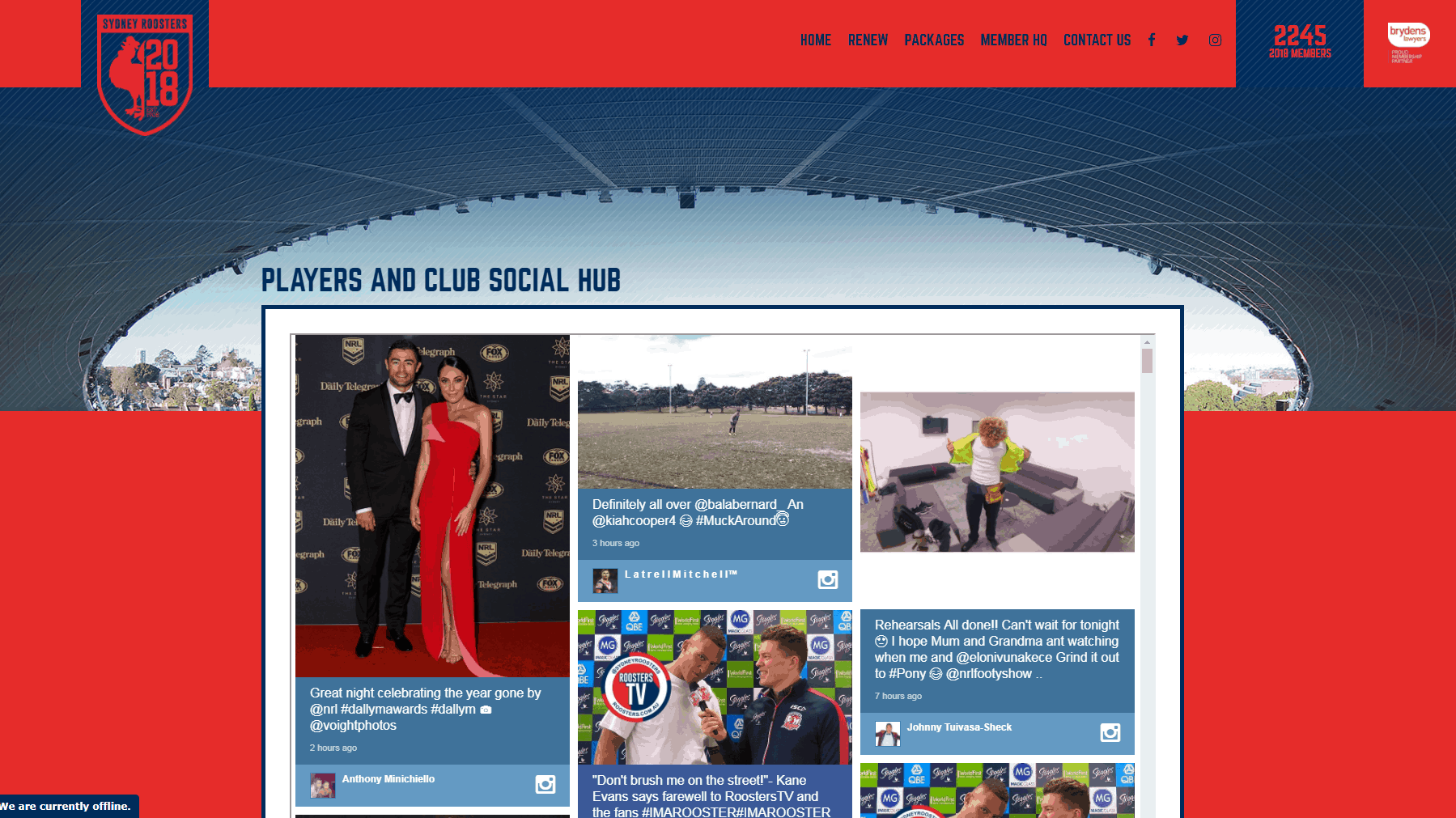 Advertise Me - Social Wall Sydney Roosters Client Header Membership Site