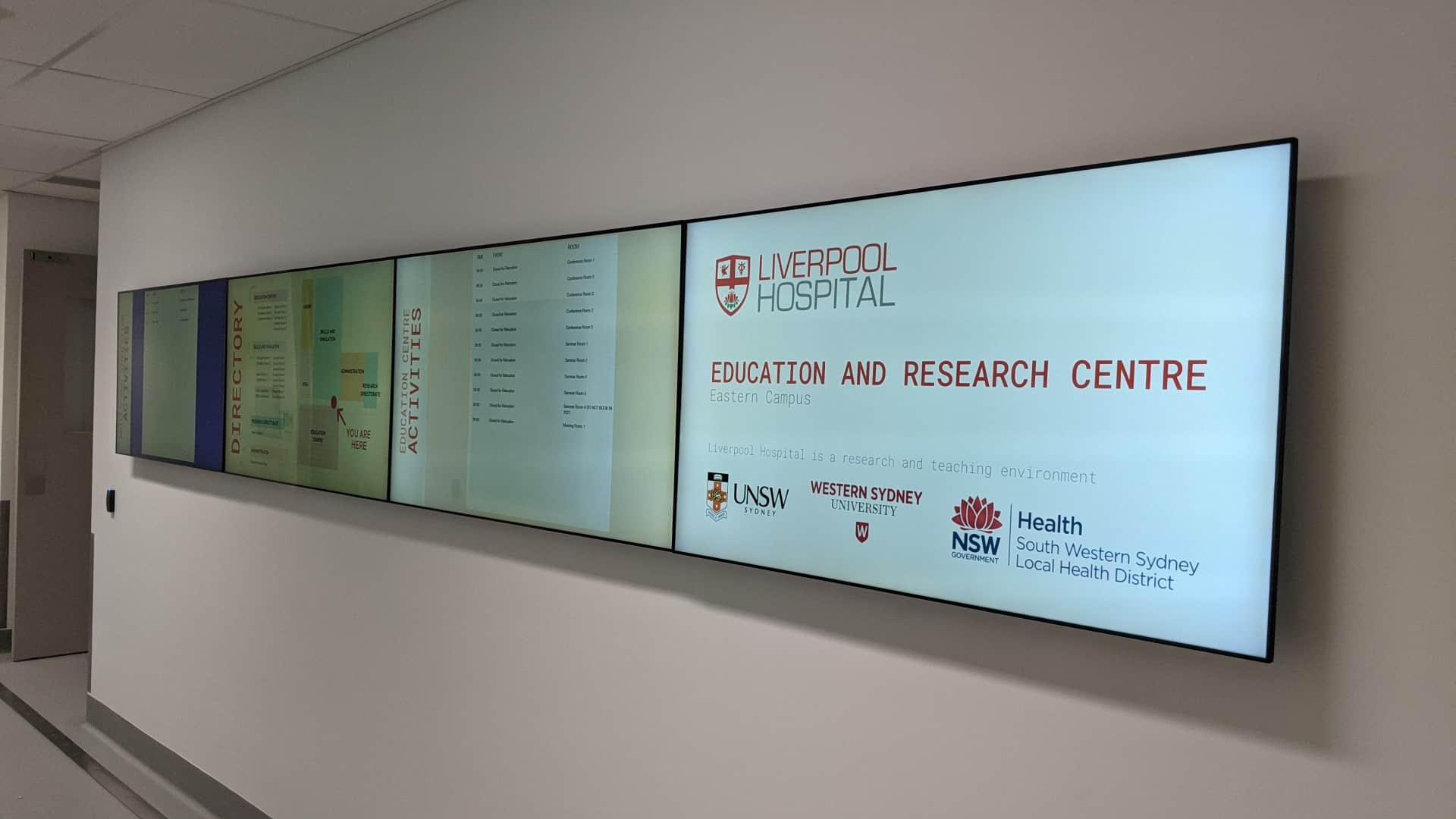 Video Wall Digital Directory Digital Wayfinding – UNSW Medicine & Health South West Sydney Precinct 4×1 Video Wall