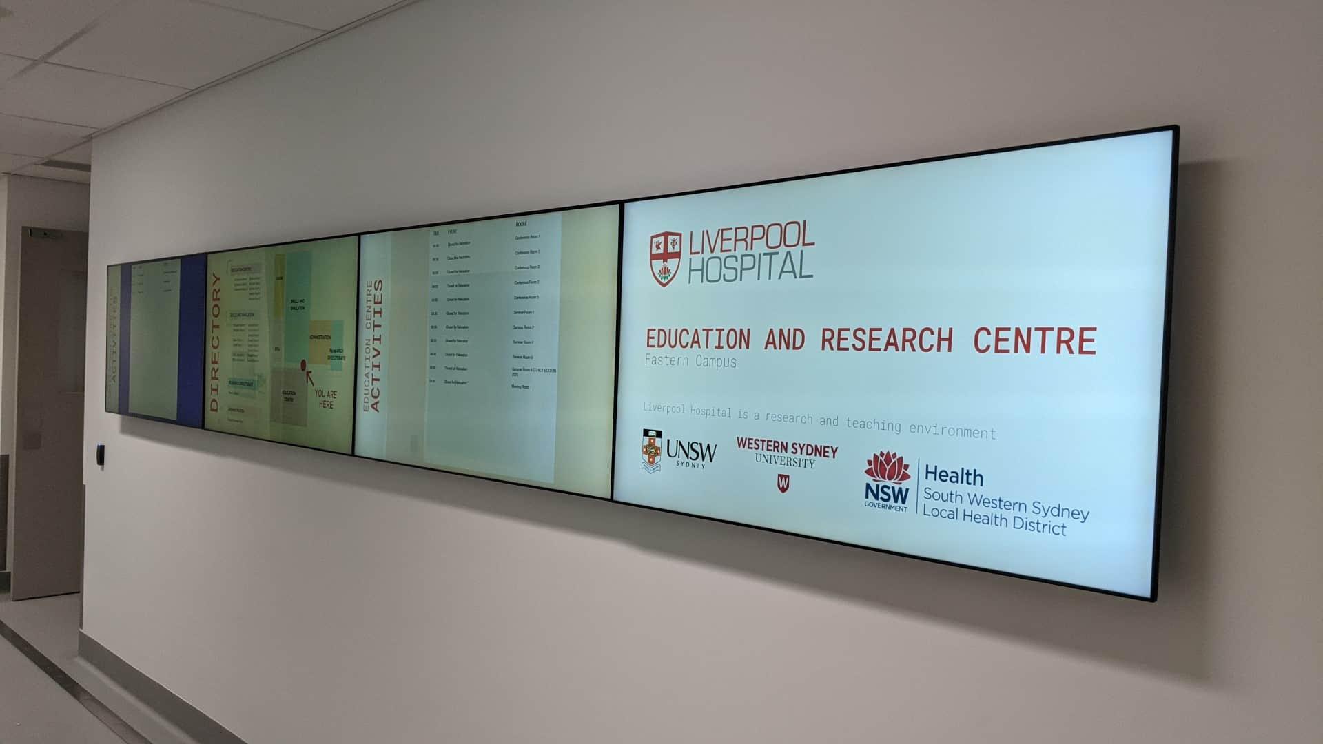 Video Wall & Digital Directory & Digital Wayfinding – UNSW Medicine & Health South West Sydney Precinct 4×1 Video Wall