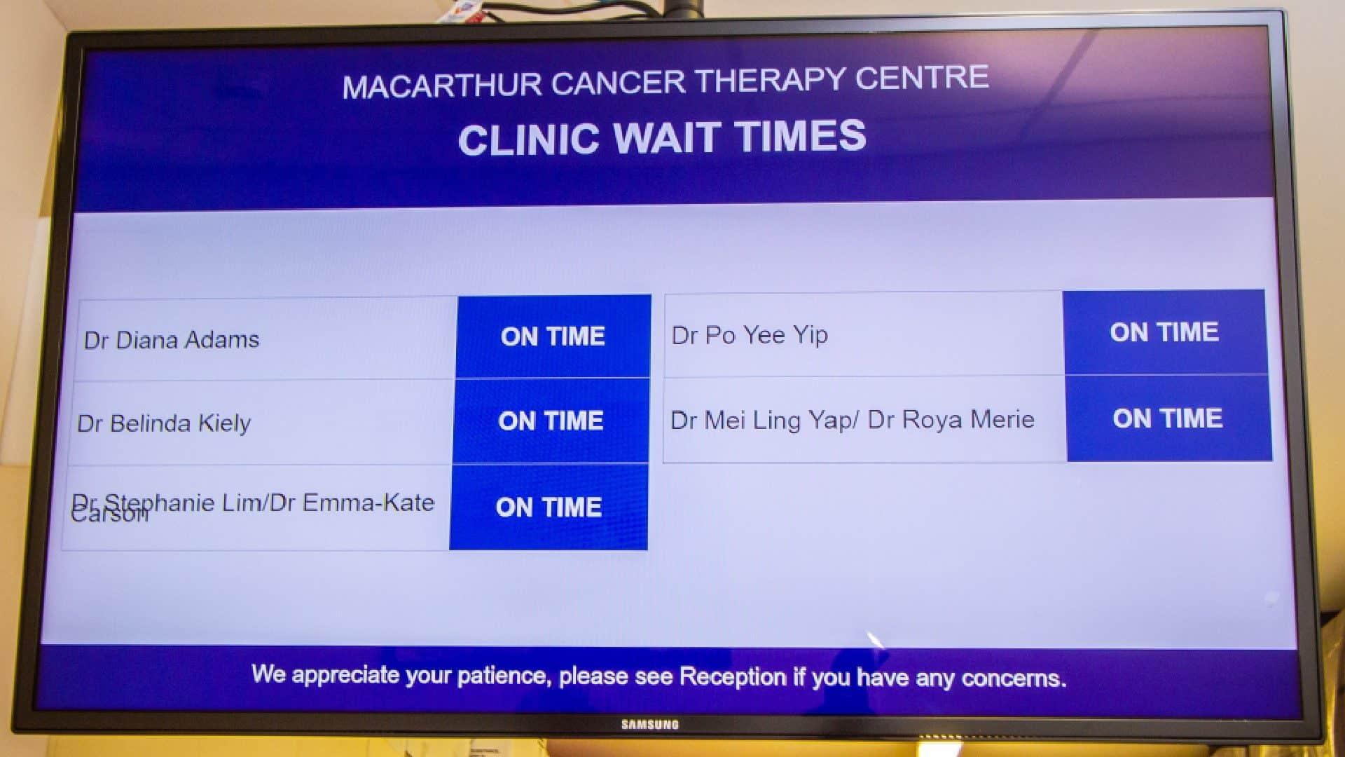 Digital Signage – Cancer Therapy Centre Clinic Wait Times